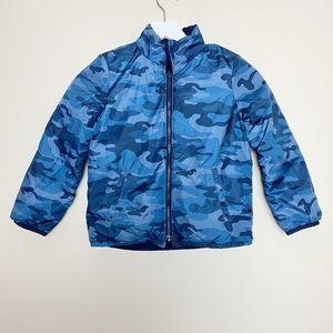 GAP Boys Reversible Camo Navy Puffer Coat XS